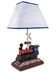 Train Table Lamp with Matching Night Light - Fantastic Hand Painted Details