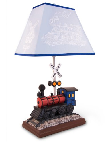 Train Table Lamp With Matching Night Light - Fantastic Hand Painted Details front-13348