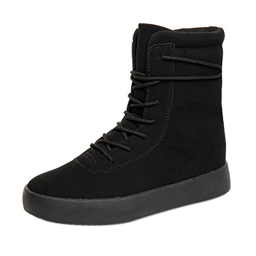 T&Mates Mens Fashion Comfort Lace-up Round Toe Faux Suede High Top Flat Sole Boots (9 B(M)US,Black) (Pacific Jazz Ii Collection compare prices)