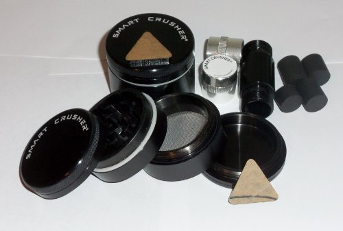 "Smart Crusher® 4 Pcs 2.25"" Value Priced Spice Herb Tobacco Grinder + New 5 Pcs Cnc Aluminum Pollen Press"
