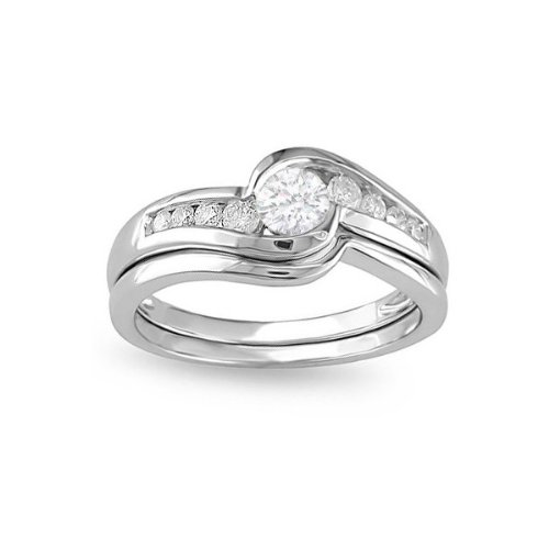 0.58 Carat Round cut Diamond Wedding Ring Set On 14k White Gold