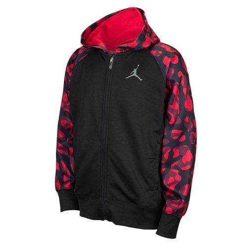 Nike Jordan AJ Camo Full-Zip Hoodie Black/Gym Red (Medium)
