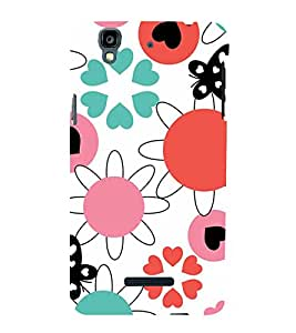 ANIMATED FLOWERS AND BUTTERFLIES PATTERN ON A WHITE BACKGROUND 3D Hard Polycarbonate Designer Back Case Cover for YU Yureka Plus::Micromax Yureka Plus