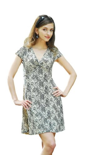 Chanceful Women's Cap Sleeve Dress with Animal Print Pattern
