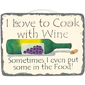 "KimsCrafts Kitchen Collection Handmade in Maine Stenciled 6""x8"" Slate Wine Saying Sign"