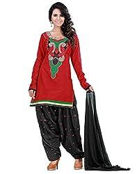 Lookslady Cotton Red Women Unstitched Salwar Kameez Suit Dress Material