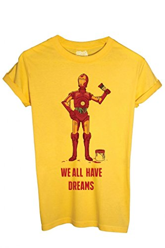 T-SHIRT IRON MAN C3PO STAR WARS - FUNNY by MUSH Dress Your Style - Uomo-L-GIALLA
