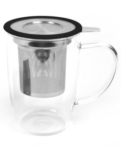 Newleaf Borosilicate Tall Tea Mug With Infuser And Lid (Black)