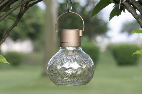 Solar Hand Blown Cozy Tea Lantern, Silver