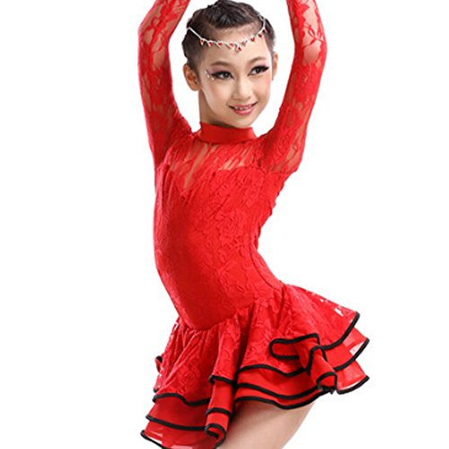 New Girls' Party Dancing Dress Latin Costume long sleeve Lace,110cm-120cm,Red