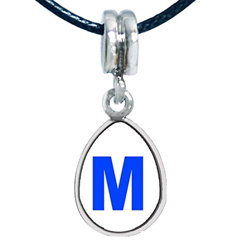 Giftjewelryshop Blue Letter M Photo Angel Tears Bead Charm Bracelets