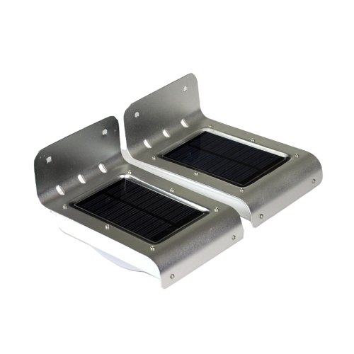 Instapark YT1008-2P Solar-powered Dusk-to-Dawn Outdoor Motion Sensor LED Light, Weather-proof, Color Silver, 2-pack
