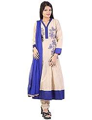 Muskan Women's Cotton Silk Regular Fit Anarkali Salwar Suit (MS -136, Cream, Large)