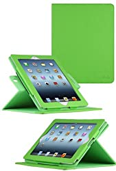 HHI 360 Dual-View Multi Angle Folio Case Cover for The new iPad (3rd Generation) - Apple Green (Built-in magnet for sleep and wake feature) (Package include a HandHelditems Sketch Stylus Pen)