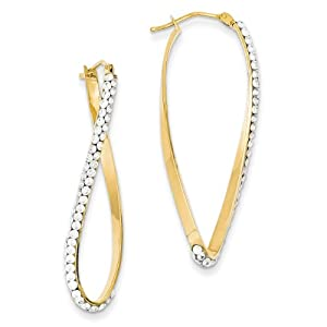 14k Swarovski Elements Wave Hoop Earrings - JewelryWeb