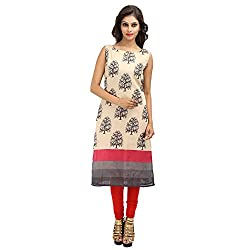 Vyom By Ankita Bairathi Charming Beige Tassar Silk Straight Knee-Length Kurti (With Leggings)