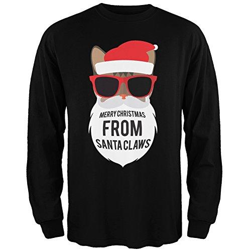 Cat Santa Ugly Christmas Sweater Black Long Sleeve - Large