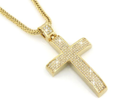 Hip hop gold pendants gold pendants of cross hip hop bling hip hop bling gold tone jesus block cross pendant mozeypictures Gallery