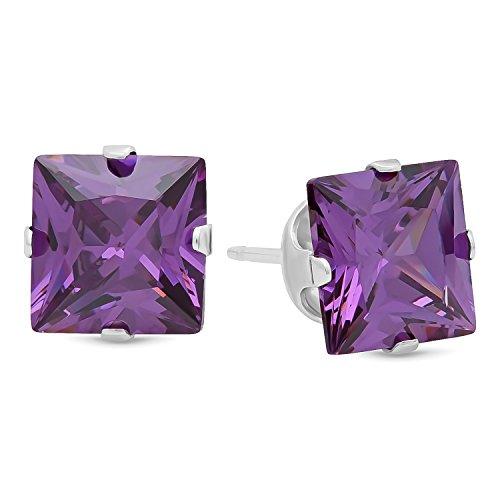 Genuine-925-Sterling-Silber-Princess-Cut-Zinken-Set-Amethyst-lila-Farbe-Zirkonia-quadratisch-Ohrstecker