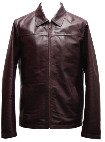 Mens Burgandy Leather Retro Zipped Blouson Jacket - Fargo by Leatherbox - Size S