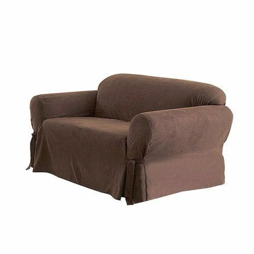 Solid Suede Couch Cover 3 Pc Slipcover Set Sofa Loveseat Chair Covers Brown Color Furniture