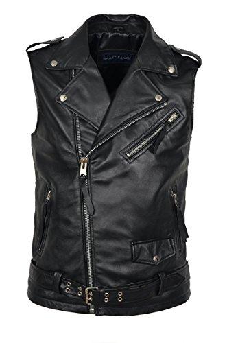 Mens-Brando-Black-Motorcycle-Biker-Steam-Punk-Real-Nappa-Leather-Waistcoat-1025