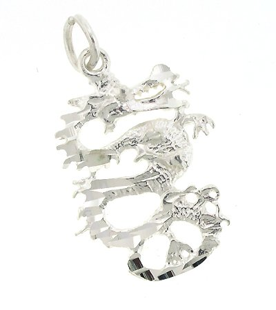 Sterling Silver 20″ Rope Chain Necklace with Charm Dragon