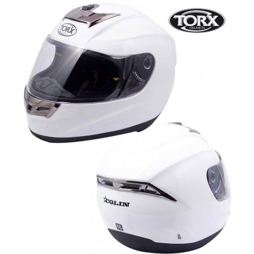 Casque MOTO intégral TORX COLIN 5 Blanc Taille S