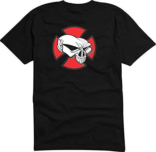 T-Shirt-Camiseta-D800-Hombre-negro-con-la-impresin-en-color-XL-diseo-Tribal-cmico-abstracto-grfico-crneo-calavera-msica-roquero-con-ancas