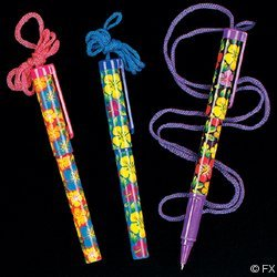 OTC - One Dozen Bright Hibiscus Pens on a Rope