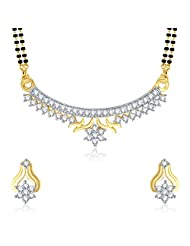 VK Jewels Gold And Rhodium Plated Mangalsutra Pendant With Earrings-MP1067G [VKMP1067G]