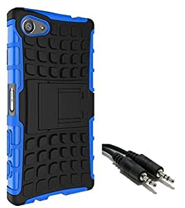 Ceres Tough Hybrid Armor Back Cover Case with Kickstand for Sony Xperia Z5 5.2 inch with Aux Cable (Blue)
