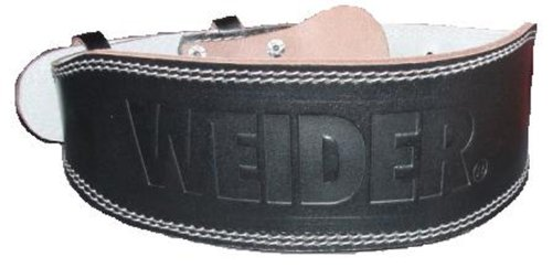 Weider Padded Black Leather Belt, 4-Inch