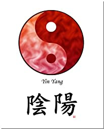 8x10 Yin Yang (Red/Red) and Calligraphy Print