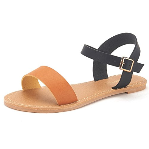 DREAM PAIRS HOBOO Women's Cute Open Toes One Band Ankle Strap Flexible Summer Flat Sandals New Black Tan Size 5.5