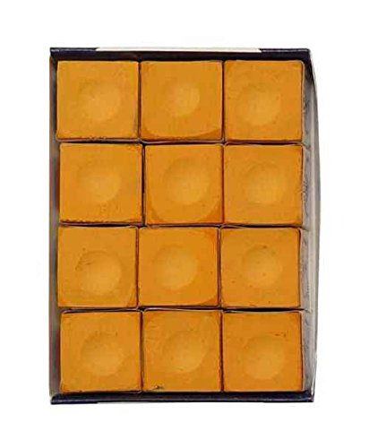 Silver Cup Orange Pool Cue Chalk - 12 Pc Set