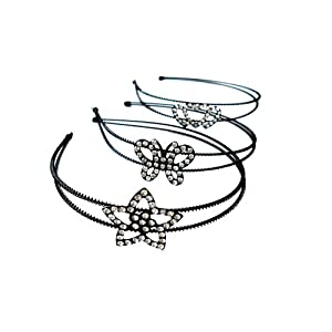 Rhinestone Bling Fashion Metal Headband Tiara with Clear Bling Set of 3 &#8211; Heart, Butterfly &#038; Star