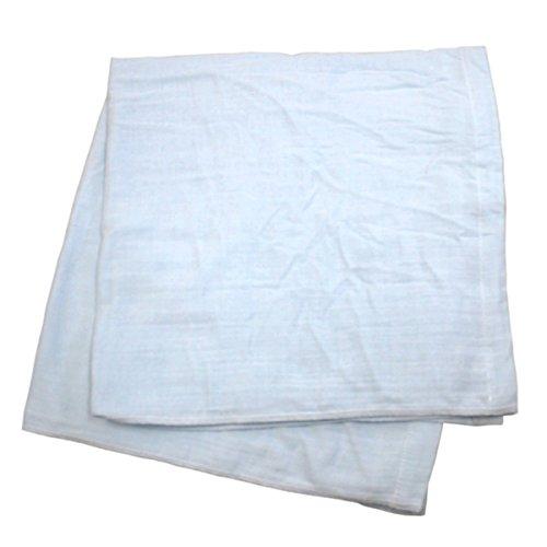 綿100% 湯上り ガーゼ タオル 2枚組 85×85cm (ブルー)