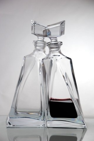 Pair of Glass Lovers Decanters