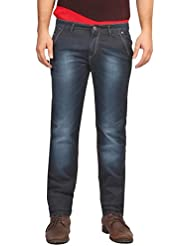 FN Jeans Stylish Navy Blue Slim Fit Low Rise Stone Wash Denim For Men | FNJ9152