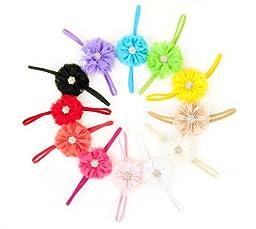 Ema Jane - Vintage Chiffon Boutique Jeweled Rosette Flowers Glued to Soft Stretcy Skinny Headbands (10 Pack)