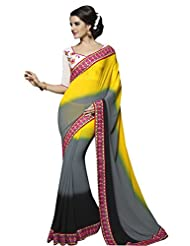 Designer Divine Multi Border Worked Faux Georgette Saree By Triveni