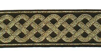 Celtic Knot Jacquard Trim - Black with Metallic Gold, 2