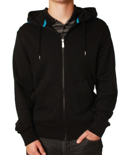 Nike Men'S N7 Full Zip Hoodie-Black/Aqua-Large