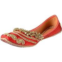 Be Notorious Women's Red Leather Punjabi Jutti - 6 UK