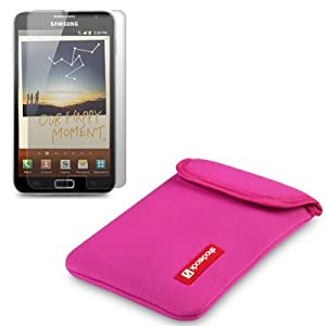 SAMSUNG GALAXY NOTE HOT PINK NEOPRENE POUCH / CASE / COVER / SKIN BY SHOCKSOCK + SCREEN PROTECTOR