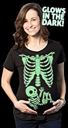 Maternity Glowing Skeleton Baby Halloween Pregnancy T shirt from Crazy Dog Tshirts