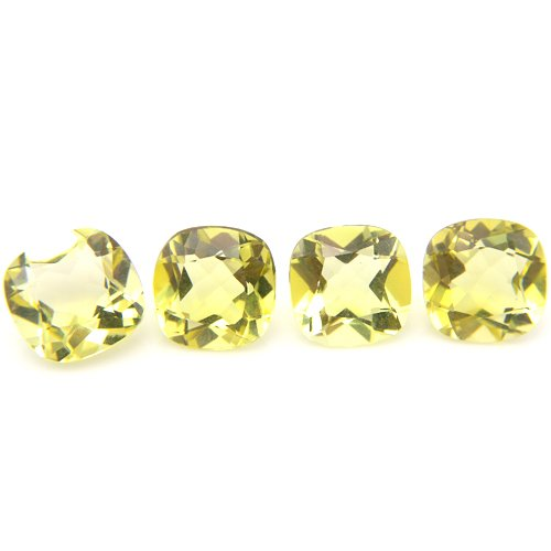 Natural Yellow Lemon Quartz Loose Gemstone Cushion Cut 12mm 22.30cts 4pcs Lot