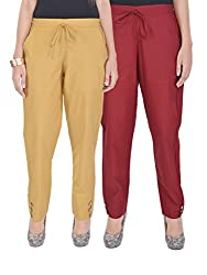 Kalrav Solid Brown and Maroon Cotton Pant Combo