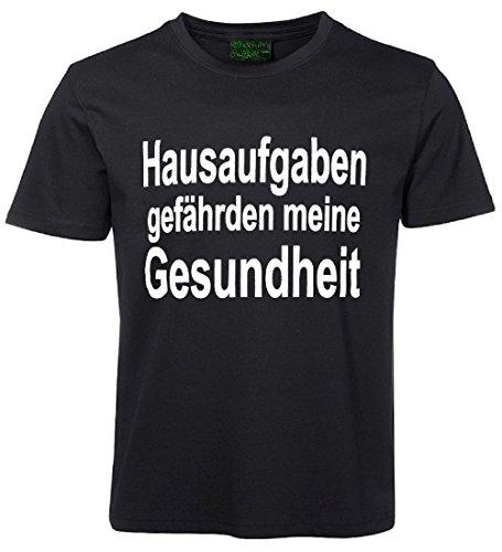 Kinder Sprüche T-Shirt Hausaufgaben... Schwarz Größe 140